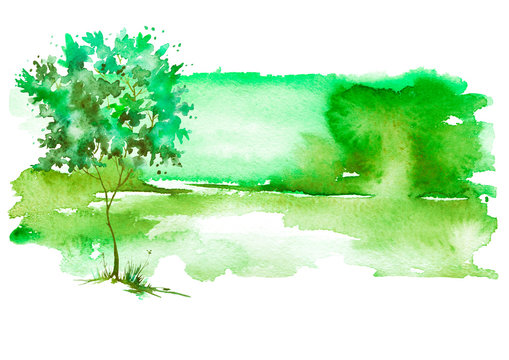 Watercolor summer, spring landscape. green,  tree on a bright green grass. On a white background. Watercolor splash of paint, beautiful illustration. Nature, tree, bush, silhouette of the forest.