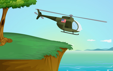 Army helicopter in nature