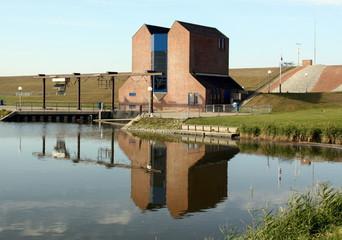 Drainage pumping station at the harbour Noordpolderzijl.The Netherlands