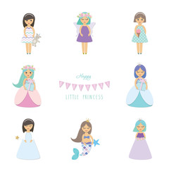 Cute little girls, princess, mermaid, angel, fairy cartoon characters set isolated on white.