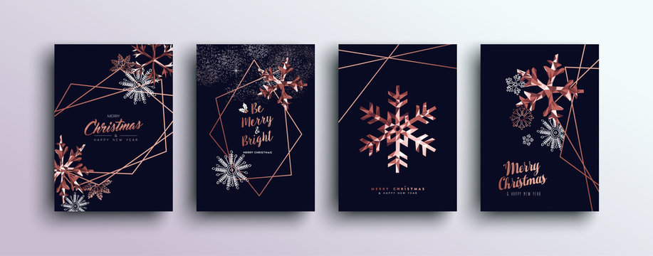 Merry Christmas pink copper greeting card set