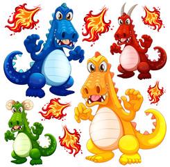 Set of angry dragon