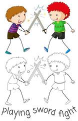 Boy playing sword fighting