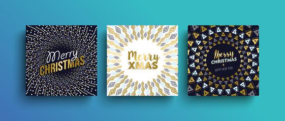 Merry Christmas gold boho greeting card set