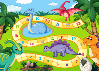 Prehistoric dinosaurs boardgame scene