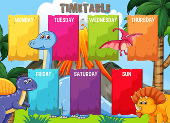 Timetable with colourful dinosaur template