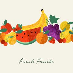 Organic fresh fruit healthy food menu background