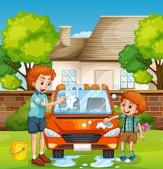 Happy people washing car