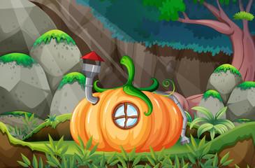 Pumpkin house in nature template