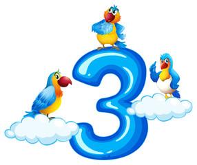 Three parrot on number three