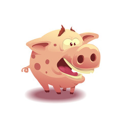 Fat little pig. Cartoon pork in flat style. Isolated on white. Vector illustration, eps 10.