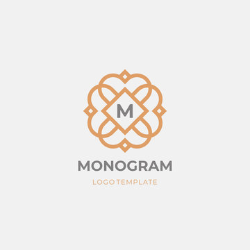 Premium monogram letter M initials logo. Luxury abc floral logotype.  Universal symbol icon vector design.