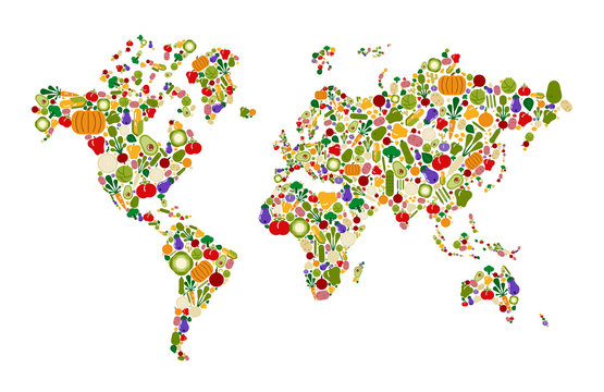 Vegetable icon world map for health and nutrition