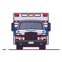 Front view of ambulance car with lights. Line style vector illustration. Vehicle and transport banner. Modern ambulance american car. First aid van with paramedics. Emergency vehicle.
