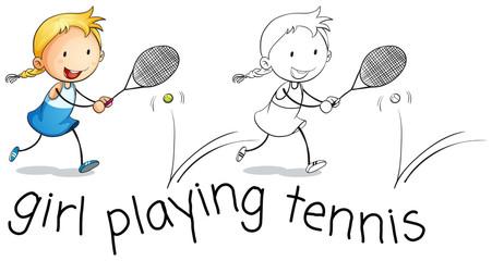 Happy girl playing tennis
