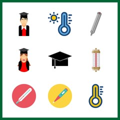 degree icons set. mortarboard, temperature, study and tool graphic works