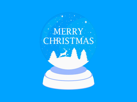 Merry Christmas. Transparent snow globe. Holiday toy. Ball with falling snow, Christmas trees and a deer. Vector illustration