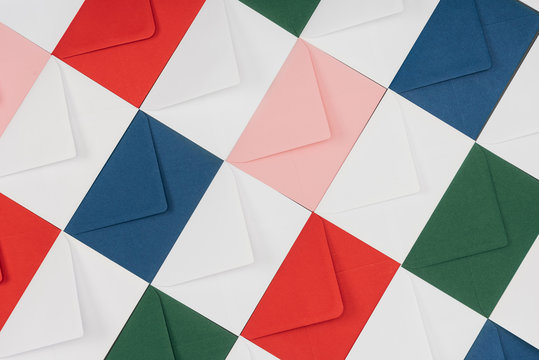 full frame background of colorful closed envelopes