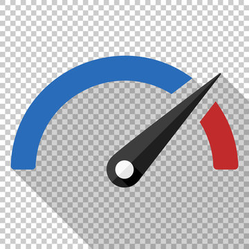 Performance measurement icon in flat style with long shadow on transparent background