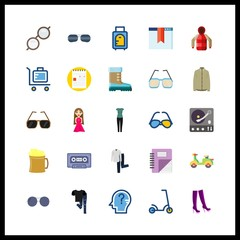 hipster icons set. eyesight, face, millennial and jug graphic works