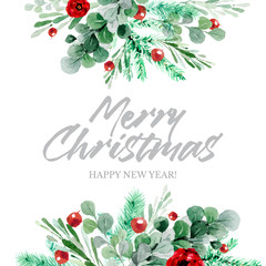 Botanical Christmas border background