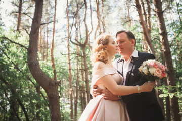 bride and groom kiss on the background of trees and forest