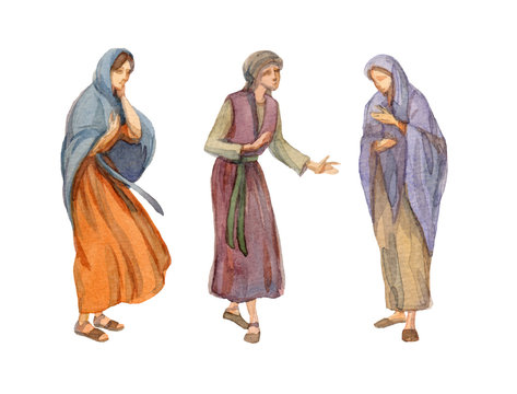 Watercolor drawing of woman in ancient clothes