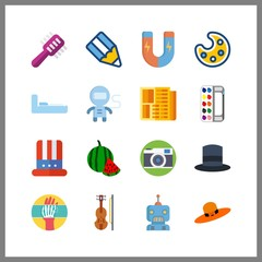 16 image icon. Vector illustration image set. bunk and watermelon icons for image works