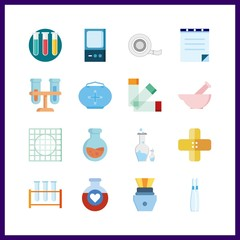 16 pharmacy icon. Vector illustration pharmacy set. prescription and flask icons for pharmacy works