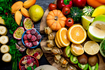 various fresh fruits and vegetables, health concept