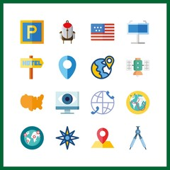 map icon. maps and flags and satellite vector icons in map set. Use this illustration for map works.