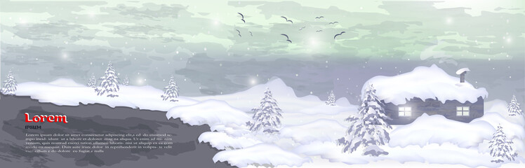 realistic banner, hat for winter trees, pines and white snow site for design