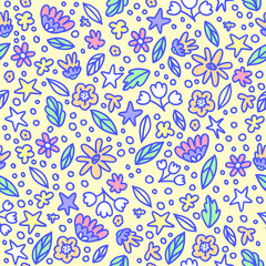 Seamless floral pattern with doodle flowers and leaves in pastel colors. Vector illustration. Trendy flowers for girly print. Hand drawn design.