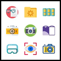 9 visual icon. Vector illustration visual set. photo camera and eye scan icons for visual works