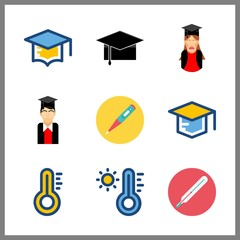 9 degree icon. Vector illustration degree set. graduated boy and graduate icons for degree works