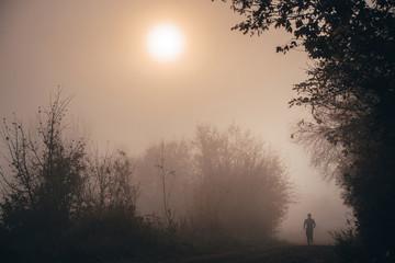 Autumn morning. Man running