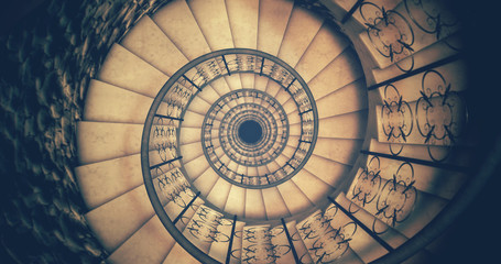 Endless old spiral staircase. 3D render Fototapete
