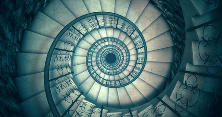Papiers peints Spirale Endless old spiral staircase. 3D render