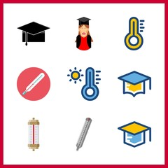 9 degree icon. Vector illustration degree set. graduated girl and thermometer icons for degree works