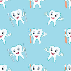 dentist seamless pattern, tooth care background texture
