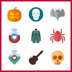 halloween icon. spider and skull vector icons in halloween set. Use this illustration for halloween works.