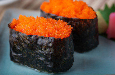 Papiers peints Roe Tobiko sushi or flying fish's roe sushi.