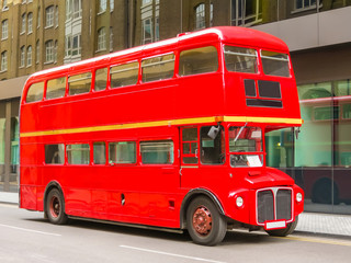 Poster London red bus Road Traffic in London. Red Double Decker Bus on the street of London, UK