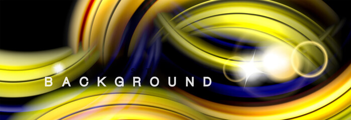Background abstract design, flowing mixing liquid color waves on black