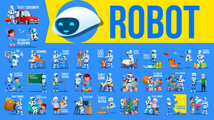Robot Helper Set Vector. Future Lifestyle Situations. Working, Communicating Together. Cyborg, AI Futuristic Humanoid Character. Artificial Intelligence. Web Design. Robotic Technology Illustration