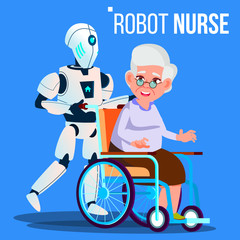 Robot Nurse Rolling Wheelchair With Elderly Woman Vector. Isolated Illustration