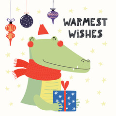 Hand drawn vector illustration of a cute crocodile in a Santa Claus hat, scarf, with gift, text Warmest wishes. Isolated objects on white. Scandinavian style flat design. Concept for Christmas card.