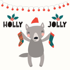 Hand drawn vector illustration of a cute funny wolf in a Santa Claus hat, with Christmas stockings, text Holly Jolly. Isolated objects on white. Scandinavian style flat design. Concept card, invite.