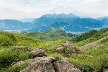 Austria, Tyrol, Fieberbrunn, mountain panorama seen from Wildseeloder