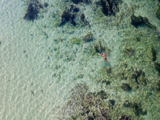 Indonesia, Bali, Aerial view of snorkeler